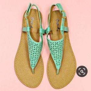Qupid Athena-717 Sea Green/Mint Sandals